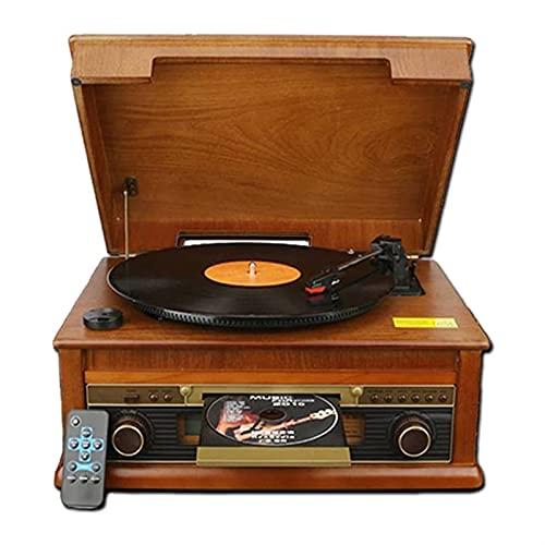 WGHH Caja de música clásica Retro giradiscos, conexión inalámbrica de Estilo Vintage de Estilo Vintage, para MP3 Grabación, Madera Natural para Entretenimiento y decoración del hogar.