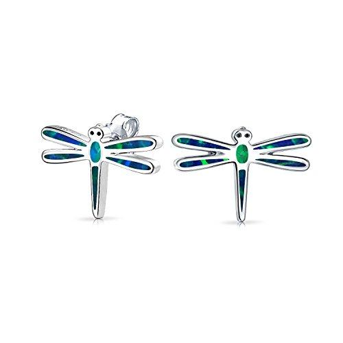 Creado Azul Ópalo Insectos Jardín De Verano Pendiente De Boton Dragonfly Para Mujer Para Adolescente 925 Plata De Ley