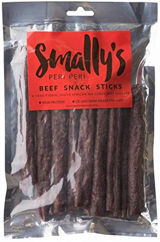 Smally's Biltong: 250g Droewors, High Protein Healthy Beef Snack, Traditional South African Air Cured Beef Sausage, Peri Peri Flavour