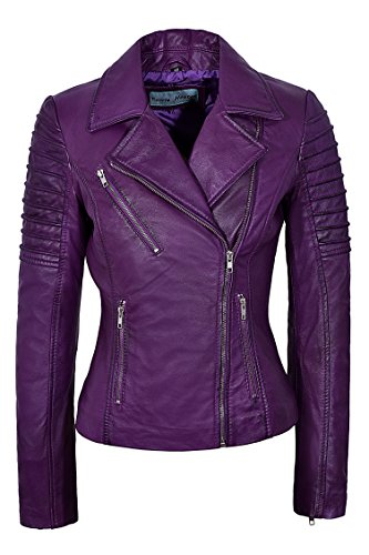 Smart Range Neu Damen 9334 Stilvolle Mode Designer Biker Weich Echtes Lederjacke (EU 38 / UK 12, Purple)