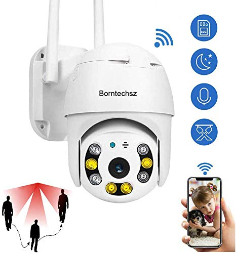 Auto Tracking WiFi IP Camera Pan Tilt Security Camera, 1080P Dome Surveillance Cam, Two Way Audio Motion Detection Clear Night Vision Onvif IP66 Outdoor Waterproof with 32G SD Memory Card ICSee App