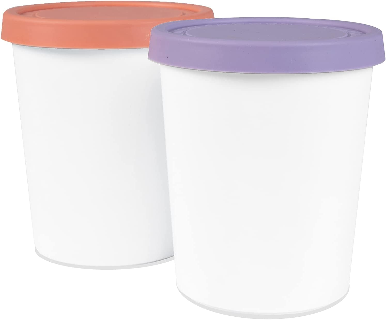 BOBOYOYO Ice Cream Containers, 2 PACK - 1 Litre Each, Tight-Fitting, Stack-Friendly, Large Reusable BPA-Free Freezer Storage Tubs with Lids for Homemade Ice Cream, Sorbet and Gelato!