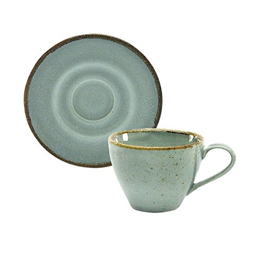 Kaffeetasse Teetasse Cappuccinotasse + Untertasse NATURE COLLECTION | Steinzeug | Stone - Grau | 200 ml