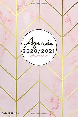 Agenda settimanale 2020 2021 A6: Agenda settimanale 2020/2021 tascabile | 18 mesi | luglio 2020 - dicembre 2021 | Agenda 2020 giornaliera italiano | marmo rosa e strisce