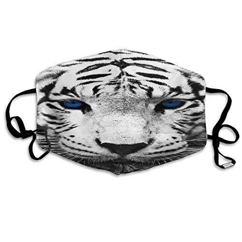 Máscara antipolvo unisex de tigre blanco con ojos azules, reutilizabl
