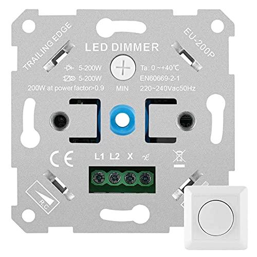otutun Interruptor Regulador de Luz, LED Regulador de Intensidad de luz LED Atenuador Interruptor regulador intensidad para lamparas led, Empotrable para Regulable LED Incandescente Bombillas