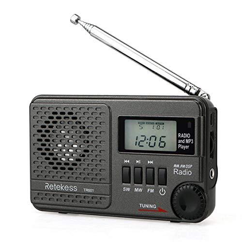 Retekess TR601 Radio de Bolsillo Am/SW/FM DSP Radio con Temporizador de Dormir MP3 y Función de Entrada de Audio USB