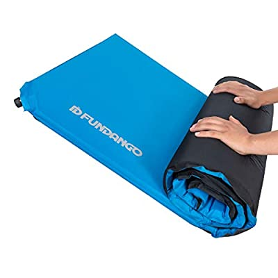 FUNDANGO Extra Long Self Inflating Foam Camping Sleeping Pad (78×25×2 in) for Backpacking, Hiking, Outdoor, 2 Inch Thick Insulated Self Inflatable Air Mattress Pad Mat, Damp-proof, Waterproof