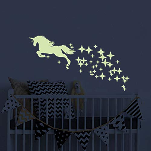 Unicorn Vinyl Wall Decals Glow in The Dark Stars DIY Kids Girls Bedroom Home Nursery Room Wall Mural Decor