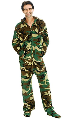 Alexander Del Rossa Men's Warm Fleece One Piece Footed Pajamas, Adult Onesie with Hood, 3X Green Woodland Camouflage (A0320P613X)