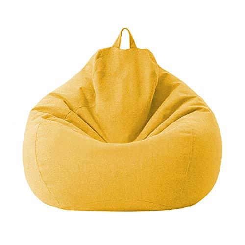 Tongdejing - Poltrona a sacco in cotone e lino, ergonomica, ideale per interni e soggiorno, senza riempire, Giallo, 80x90cm