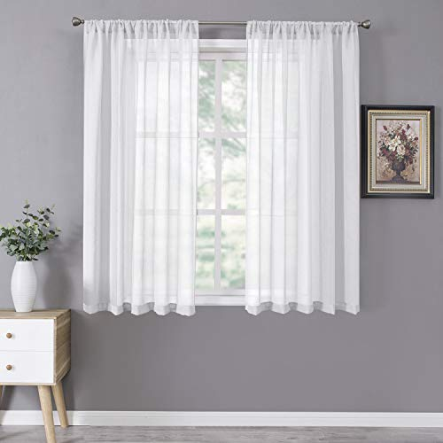 Tollpiz Short Sheer Curtain Linen Textured Living Room Curtains Sheer Light Filtering Rod Pocket Voile Curtain for Bedroom, 42 x 54 inches Long, White, Set of 2 Panels