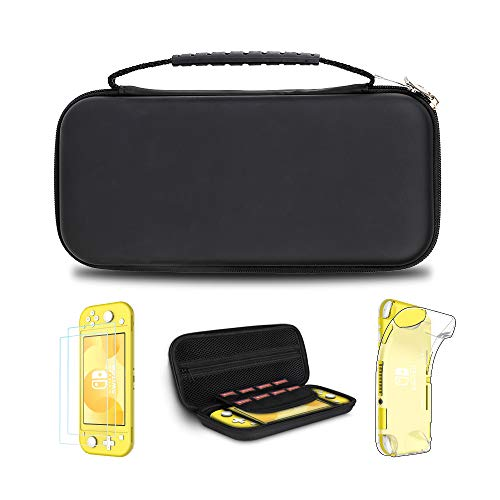Simpeak Accessories Case Compatible with Switch Lite, 2 Tempered Glass Screen Protector + 1 Protective Silicone Case + 1 Travel Carry Case Pouch Compatible with Switch Lite Console, Black