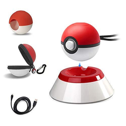 5 in 1 Pokeball Plus Charger Stand Charging Station Holder Fast Charging Cord Cable,Carrying Case,Silicone Cover Pokeball Accessories Kit for Pokémon Let's Go Pikachu(Not Include Pokeball Controller)