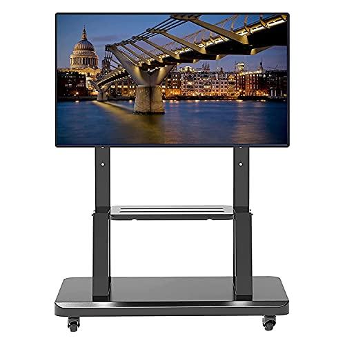 Soporte para TV con base de metal para piso, se adapta a la mayoría de televisores de hasta 65 pulgadas, carrito de TV con ruedas de altura ajustable con estante y ruedas, soporte giratorio para TV d