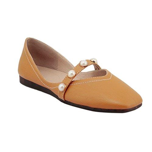 YOUJIA Damen Mary Jane Halbschuhe Flache PU Lederschuhe mit Perlen Slip On Mokassin Casual Schuhe (Gelb, CN 39 / EU 38)