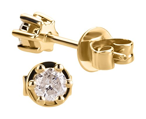 Ardeo Aurum Damen Ohrringe-Ohrstecker aus 585 Gold Gelbgold mit 0,25 ct Diamant Brillant Solitär