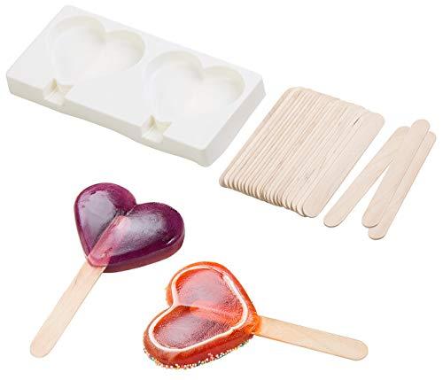 Rosenstein & Söhne Eisform Silikon: Silikon-Form für 2 Herz-Eis am Stiel, je 80 ml, mit 24 Holzstielen (Stieleisformen)