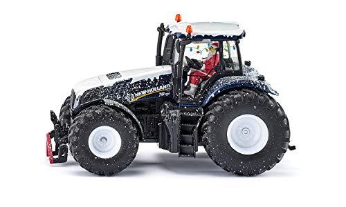 Siku 3220, Weihnachtstraktor New Holland T8.390, 1:32, Metall/Kunststoff, Blau, Inkl. Weihnachtsmann-Fahrer, Anhängerkupplung, Öffenbare Motorhaube