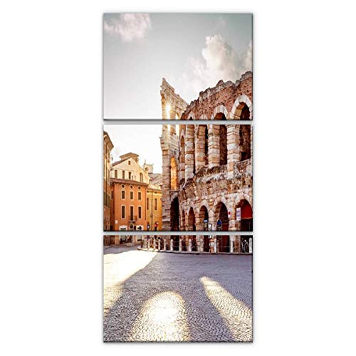 guiyangkaichenkeji colliseum in Verona City, Italy Travel History Stock Pictures, Modern Vertical Canvas Pictures Wall Art Artwork on Wrapped Canvas for Bedroom Living Room Decoration 3 Panels