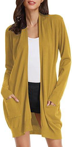 GRACE KARIN Women s Long Sleeve Open Front Knitting Kimono Cardigan Pockets 3XL Mustard product image