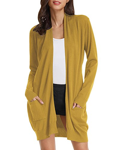 Womens Basic Open Front Knit Cardigan Sweater Top (L,Mustard)