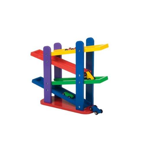 Marionnette Wooden Toys - 35336 - Véhicule Miniature - Circuit Rampe en Cascade et 4 Voitures en Bois - 28x32x9 cm
