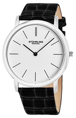 Stuhrling Original Men's Swiss Quartz Watch with White Dial Analogue Display and Black Leather Strap 601. 33152