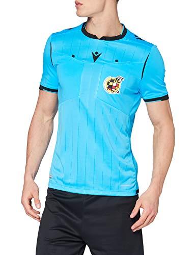 Macron Rfef 20 Match Day Man Shirt Referee SS Nsky/Blk Sr Camiseta árbitro Azul neón Real Federación Española de Fútbol, Hombre, L
