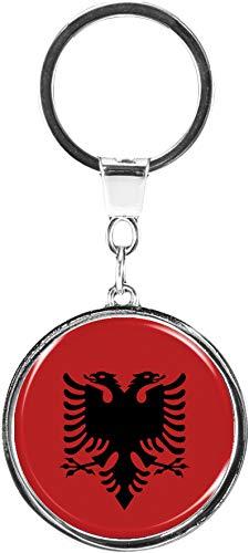 metALUm | Schlüsselanhänger Rund Metall Flagge Albanien 6610067