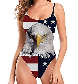 Women s American Flag Swimsuit One Piece Patriotic 4th of July Bathing Suit Bald Eagle USA Flag Swimwear Tummy Control Beachwear