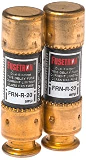 Bussmann BP/FRN-R-20 20 Amp Fusetron Dual Element Time-Delay Current Limiting Class RK5 Fuse, 250V Carded UL Listed, 2-