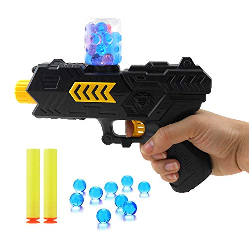 Kandall Toy Gun Shooting Gun Toy Foam Bullets and Water Bombs Dual-Purpose Pistol with 2 PCS EVA Soft Bombs and 10000 PCS Crystal Bullets