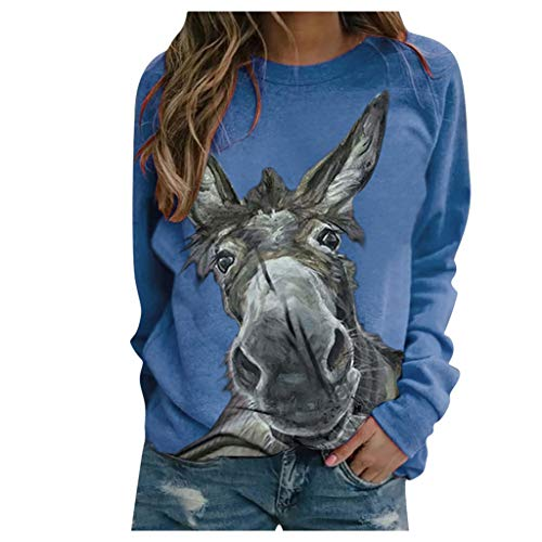 PPangUDing Women's Long Sleeve Sweatshirts Elegant Crew Neck Loose Printed Pullover Tops Outdoor Casual Sweat Jacket Blouse Shirt Tunic Tops - Blue - 8