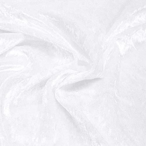 TOLKO Pannesamt 10m Stoffballen als Dekostoff/Kleidungsstoff zum Nähen Basteln Dekorieren | Edler, fein glänzender Samt-Stoff mit Stretch | (10 m x 150 cm, Weiß)