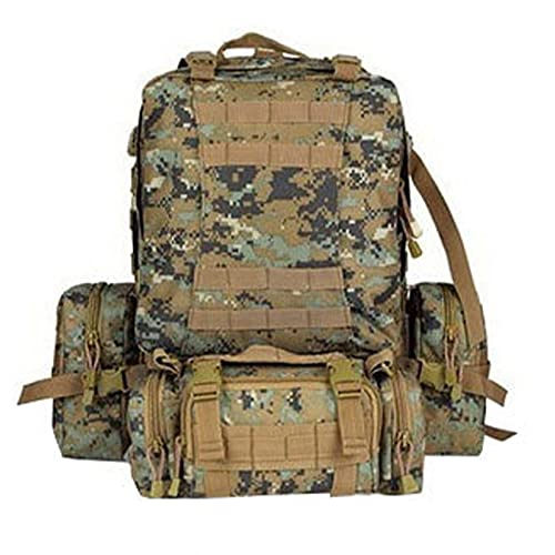 OUTEW Mochila Crossfit Hombre 55L Gran Capacidad con Compartimento de Agua, Mochila Camouflage para Acampar al Aire Libre, la Mejor Mochila de Viaje,JD,50x34x32cm