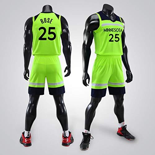 YHNMK Derrick Rose # 25 Retro de Baloncesto Jersey Uniformes de Verano Baloncesto Uniformes de Baloncesto Bordado Top y ShortsFluorescent Green-XXXXL