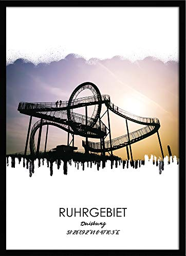 artissimo, Design-Edition, Ruhrgebiets-Bild gerahmt, 51x71cm, PE6449-ER, Ruhrgebiet: Stadt Duisburg, Bild, Wandbild mit Rahmen, gerahmtes Poster, Geschenk-Idee Ruhrpott, Geschenk Ruhrgebiet
