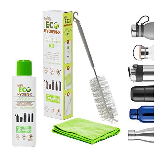 Eco Today Hygien-X - Kit Limpieza de Botellas Agua Acero Inoxidable. Incluye Cepillo Botellas (32 cm) y paño de Limpieza. Natural y Biodegradable