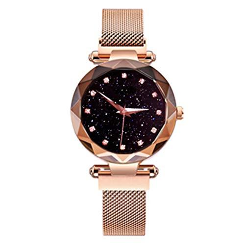 Magnet Uhr Damen Quarzuhr Mode Sternenhimmel Himmel Magnetisch Mesh-Gurt Schau Zu Strass Freizeit Netzwerkkette Glasspiegel Mädchen Uhr (Gold)