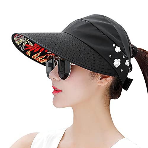 BIBOKAOKE Damen Sonnenhut Faltbarer Sommerhut Baseball Kappe Frauen Anti-UV Hut mit Breiter Krempe Visoren Outdoor Schirmmütze Atmungsaktive Sonnenvisor für Sport Strandurlaub