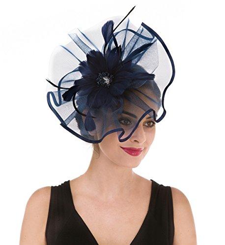 potente para casa Tocados de rejilla con plumas y velos de rejilla, tocados de fiesta, tocados de ascot, sombreros…