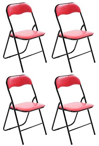 CLP 4er Set Klappstuhl Felix Gepolstert I Küchenstuhl Mit Metallgestell I Kunstleder PVC Sitz Gepolstert I Stühle Klappbar I Campingstühle, Farbe:rot/schwarz