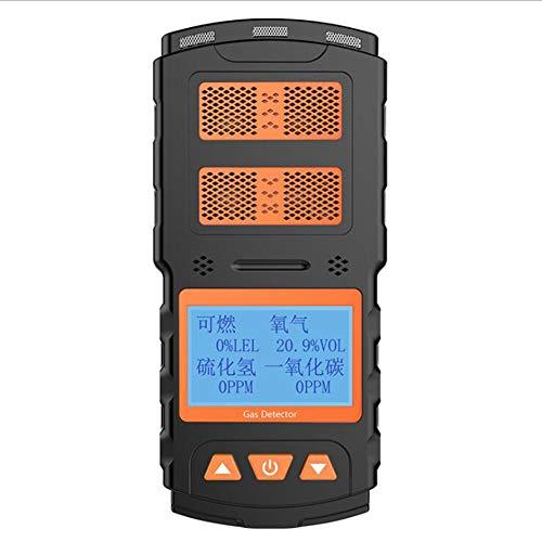 AKAKKSKY 4-in-1 Gasmelder tragbar (O2, CO, H2S, LEL) Messgerät überwachen Sound Light Vibrationsalarme Hochempfindlicher Sensor Kostenpflichtig DREI-Beweis-Design