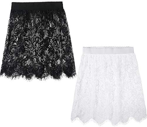 2 Pieces Women s Adjustable Layering Fake Top Hemline Fake Lace Layering Lower Sweep Mini Skirt product image
