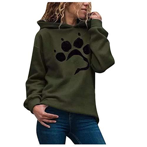 Chejarity Sudadera con capucha para mujer, diseño Kawaii, de manga larga, con capucha, básica, para mujer, elegante, Verde militar., XL