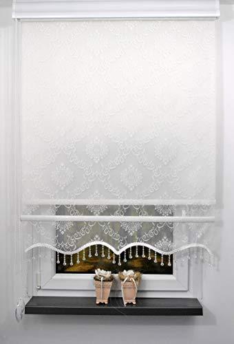 Storperde24 Doppelrollo Doppelstoff Verdunklungsrollo Fensterrollo Seitenzugrollo 2in1 Weiss mit Perlen (RTE06 Weiss, 80x200 cm)