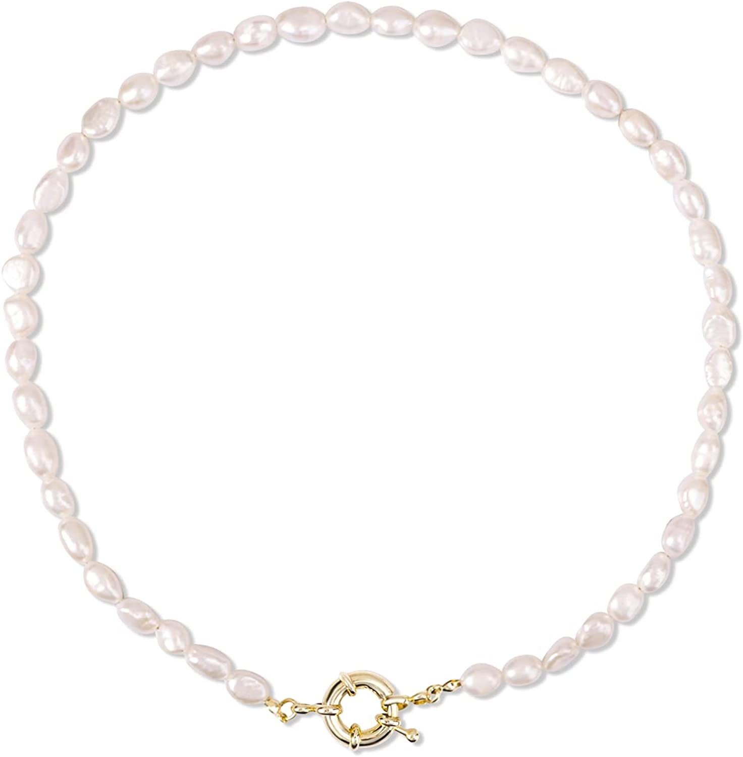 NEWPAEAN Pearl Necklace for Women Girls, Dainty Irregular Baroque Pearl Choker Simple Jewelry with Spring Clasp, Birthday Wedding