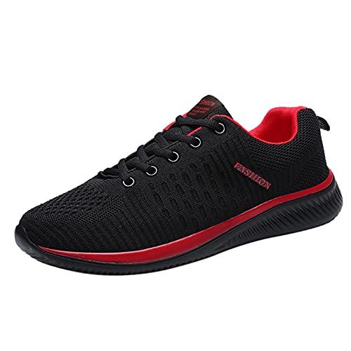 Plateau Scarpe da Ginnastica Donna Sneakers con Zeppa Traspirante Leggere Slip on Mocassini Loafers Casual Scarpe Sportive (A13-Red,36)