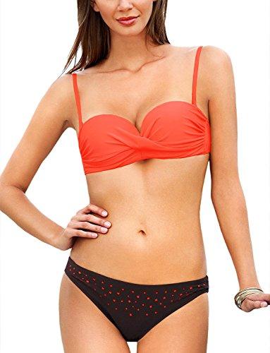 Ewlon Samba I Bikini Set für Damen, Bügel Cups, Neckholder, elegant, EU, Größe 40, orange-braun